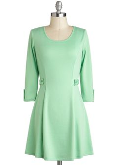 Songs of the Pastel Dress - Short, Mint, Solid, Pastel, 3/4 Sleeve, Spring, 60s, Mod, Casual, Mini