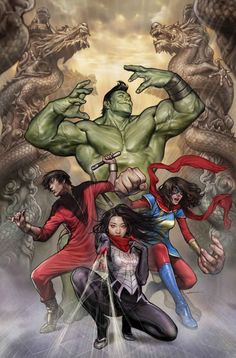"""Marvel's Asian American superheroes will assemble for an arc in """"Totally Awesome Hulk""""! Amadeus Cho, the new Korean American Hulk first introduced two years ago by writer Greg Pak, … Marvel Comics, Marvel Vs, Comics Anime, Silk Marvel, Arte Dc Comics, Marvel Heroes, Captain Marvel, Anime Toon, Marvel Comic Character"""