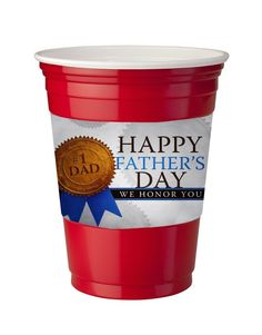 4 Pack of Vinyl Decal Stickers for Disposable Cups / Happy Father's Day No. 1 Dad Quote Design Pattern Image by Trendy Accessories available at https://www.amazon.com/dp/B072624YHF #customizedcups #beverageware #drinkware #fathersday