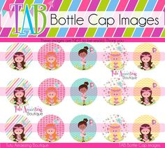 Springtime Girls 4x6 Bottle Cap Image Sheet by tabBottleCapImages