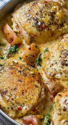 Chicken and Potatoes with Garlic Parmesan Spinach Cream Sauce — Eatwell101