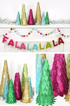 Colorful faux glitter leather christmas trees with styrofoam cones. Free SVG and PDF templates.