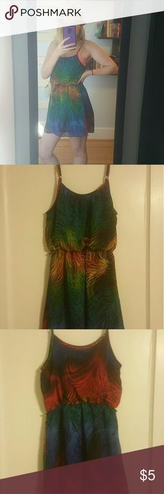 Sundress Black sundress with a rainbow swirl design all over it. Adjustable straps. Elastic waist. Dresses Mini