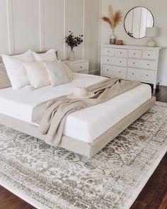 Room Ideas Bedroom, Home Decor Bedroom, Airy Bedroom, Taupe Bedroom, Neutral Bedroom Decor, Cozy White Bedroom, Cream And White Bedroom, White Bedroom Furniture, Peaceful Bedroom