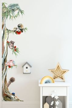 This gorgeous Australian Animal Tree wall sticker is an exclusive design created from original watercolour artworks. Featuring many of our favourite Aussie animal friends like the Koala, Kookaburra, Possum, Galah, Emu and Blue Wrens. Australian Nursery, Australian Animals, Australian Flowers, Koala Nursery, Animal Nursery, Animal Room, Nursery Room Decor, Nursery Wall Art, Baby Bedroom