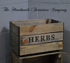 Handmade Herb Planter Wooden Crate - Words Can be Personalised, £19.99