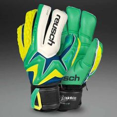 Reusch Waorani Deluxe G2 Ortho-Tec GK Gloves - Green/Yellow in a 7