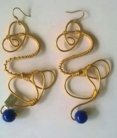 Gold organic shape earring with cobalt accent---TRJ