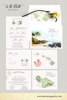 Hawaii Maui wedding invitation set