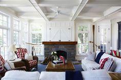 Muskoka Cottage - doors above fireplace for TV Lake Cottage, Cottage Living, Cottage Homes, My Living Room, Cottage Style, Coastal Cottage, Coastal Family Rooms, Coastal Homes, Les Hamptons