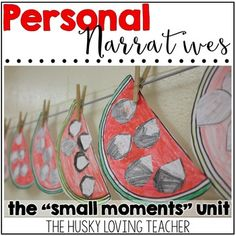 """""""Small moments"""" can be hard for students to write! This unit helps them visualize, prewrite, and create a story that is all their own in the personal narrative genre! [Resource from: The Husky Loving Teacher] Writing Topics, Writing Strategies, Teaching Writing, Teaching Tools, Writing Prompts, Personal Narrative Writing, Personal Narratives, Watermelon Seed Writing, Small Moment Writing"""