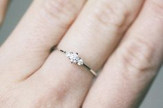Fairy Diamond Engagement Ring Genuine Diamond White Gold by Clenot