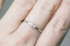 Fairy Diamond Engagement Ring Genuine Diamond White Gold by Clenot