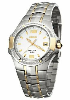 Seiko Men's SGED28 Coutura Diamond Watch Seiko. $399.00. Water-resistant to 330 feet (100 M). Sapphire crystal. Quality Japanese-Quartz movement. Stainless steel case; White dial; Date function. Case diameter: 38 mm