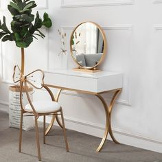 Stylish Design Gold Metal Base White Wood Makeup Table with Round Mirror & Chair Set Interior, Makeup Table, Decor Inspiration, Round Mirrors, Home Decor, Room Decor, Chair Set, Bedroom Decor, Interior Design