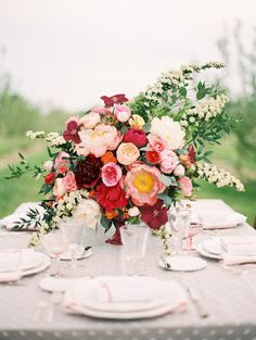 Elegant Pink and Red Centerpiece | photography by http://www.sarahasstedt.com/