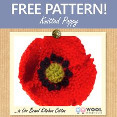 This week's free pattern shows you how to make your own knitted poppy to mark Remembrance Sunday this weekend. Knitted Poppy Free Pattern, Knitting Patterns Free, Free Knitting, Crochet Patterns, Knitted Poppies, Knitted Flowers, Flower Crochet, Knitting Supplies, Knitting Projects
