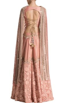Canopy tasseled embroidered skirt with back tie up blouse and sequence draped dupatta Western Dresses, Indian Dresses, Indian Outfits, Sari Blouse Designs, Lehenga Designs, Indian Designer Outfits, Designer Dresses, Party Wear Lehenga, Lehenga Wedding