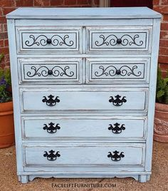 Art Deco Chest of Drawers in distressed Robin's Egg Blue. Black Glaze accents heavy wood grain and ornate detail. Five drawers, with pulls spray painted black. From Facelift Furniture's Chests of Drawers collection. Furniture Rehab, Robins Egg Blue, Painted Bedroom Furniture, Blue Furniture, Refinishing Furniture, Furniture, Glazing Furniture, Ornate Details, Diy Projects For Bedroom