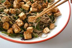 Samphire Noodles with Miso Marinated Tofu