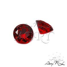 1pcs AAAAA 8mm Dark Red Garnet Cubic Zirconia Round by AoryNL