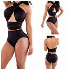 Black Higbwaisted Swimsuit New never worn 2 piece high waisted swimsuit in black size large  cup size fits a B-DD...see all styles for more! Follow me to see new items posted daily. See our page for more makeup swimsuits clothing and jewelry! Rima Imar Swim