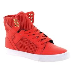 Supra Skytop Red High Top Sneakers ❤ liked on Polyvore