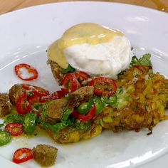Zucchini-Potato Pancakes with Tomato, Merguez and Zabaglione Recipe by Mario Batali and Michael Symon