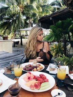 Bora Bora, Travel, Ocean, water bungalows, bucket list, photography, jessakae, french polynesian islands, blonde, hair, blonde hair, beach hair, beach waves, off the shoulder, breakfast, tropical