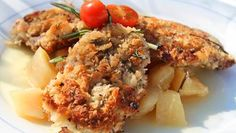 Paniertes Rehschnitzel mit pikantem Birnenkompott