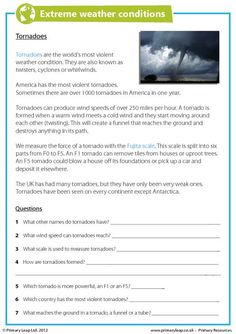PrimaryLeap.co.uk - Extreme Weather Conditions - Tornadoes Worksheet