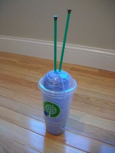 great idea! use a drink cup with a hole in the lid to hold yarn while you are at it would fit in your cars drink holder while on trips!