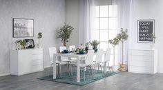 Ice Lite -ruokaryhmä sisältää valkoiset Cool-tuolit sekä Ice-ruokapöydän lasikannella.