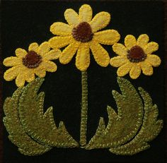 Wool applique PATTERN Black Eyed Susans by HorseAndBuggyCountry
