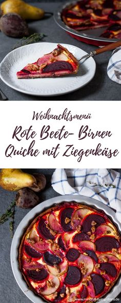 Rote Beete-Birnen Quiche mit Ziegenkäse This delicious beetroot and pear quiche is perfect as a side dish for your Christmas dinner! It is hearty-fruity and the combination of pear, beetroot, goat cheese and walnuts is simply heavenly! Tart Recipes, Cheese Recipes, Vegan Breakfast Recipes, Vegetarian Recipes, Breakfast Healthy, Goat Cheese Quiche, Apples And Cheese, Vegan Cheese, Quiches