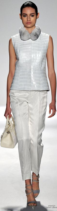 Dennis Basso ~ Fur Collared Top w Skinny Trousers, Spring 2015
