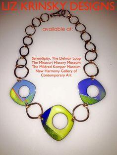 Liz Krinsky Designs, enameled, colorful, fun!   https://www.facebook.com/Liz-Krinsky-Designs-205471919475111/ Plastic Jewellery, Enamel Jewelry, Art Students, Necklace Ideas, Jewelry Ideas, Enamels, Cool Designs, Glass Art, Polymer Clay