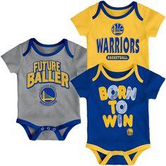 Golden State Warriors Newborn Little Fan Three-Pack Bodysuit Set Blue/Yellow/Heathered Gray Indiana Pacers, Nba, Golden State Warriors, Kids Sports, Sports Baby, Los Angeles Lakers, Sports Fan Shop, Purple Yellow, Trendy Plus Size