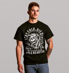 Reaper tees only 16 // Holehearted.co // Also available in a vest/tank  . . . #holehearted #clothing #collective #streetwear #grimreaper #design #alternative #style #brand #skate #fashion #apparel #indieclothing #guyswithtattoos #pin #shopindependent