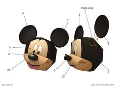 Mickey Mouse Paper Craft Mickey Head, Mickey Mouse, Learn To Love, How To Make, Baby Party, Over The Years, Easy Crafts, Disney Characters, Fictional Characters