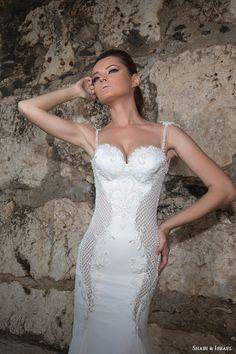 shabi and israel wedding dresses 2015 thin strap bustier bodice sheath white dress bridal gown