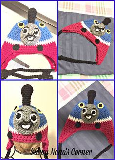 Savvy Nana's Corner: Crocheted Thomas the Train Inspired Hat with Ear F. Crochet For Boys, Crochet Baby, Free Crochet, Crotchet, Knitting Patterns, Crochet Patterns, Craft Free, Ear Hats, Thomas The Train