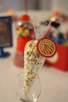 boy's circus first birthday party popcorn
