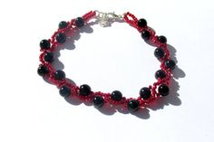 Beaded Bracelet, Black and Red Bracelet, Prom 2015, Prom Accessory, Bridesmaids Gift, Beadwoven Bracelet, Seed Bead Bracelet  $22.00