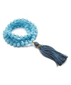 Angelite & Blue Topaz Lotus Tassel Mala Necklace