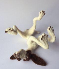 Felt dog sculpture Pointer by mikaelabartlettfelt on Etsy