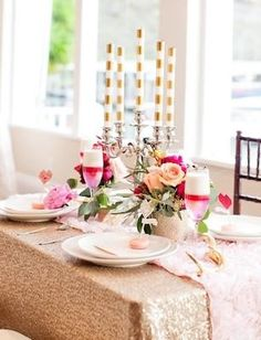 Champagne Sequin Tablecloth | Glitter Wedding Decorations Ideas