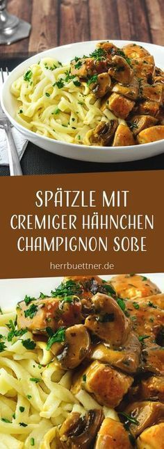 Spätzle mit Hähnchen und Champignons in Sahnesoße mit Thymian und Petersilie. You are in the right place about Italian Recipes for a crowd Here we offer you the most beautiful pictures about the Itali Vegetable Recipes, Meat Recipes, Crockpot Recipes, Vegetarian Recipes, Chicken Recipes, Shrimp Recipes, Parsley Recipes, Cooking Vegetables, Vegetarian Diets