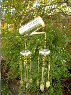 Wind chime made rustic silver flatware and retro coffee pot - lime gre - Whispering Metalworks