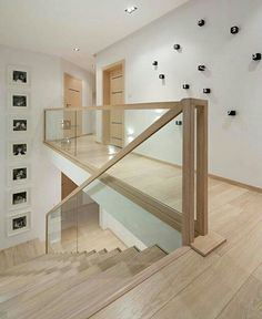 Modern Stairs // minimal wood stairs at the House Interior by Widawscy Studio Architektury Glass Stairs, Wood Stairs, House Stairs, Glass Stair Railing, Timber Staircase, Railing Design, Staircase Design, Staircase Architecture, Railing Ideas